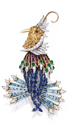 *PLATINUM, 18 KARAT GOLD, COLORED STONE AND DIAMOND 'OISEAU DE PARADIS' BROOCH, SCHLUMBERGER FOR TIFFANY & CO., FRANCE, signed Tiffany Schlumberger, Made in France, with scratch number 611 714; circa 1963.