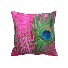 Hot Pink and Peacock Feathers Still Life Pillow