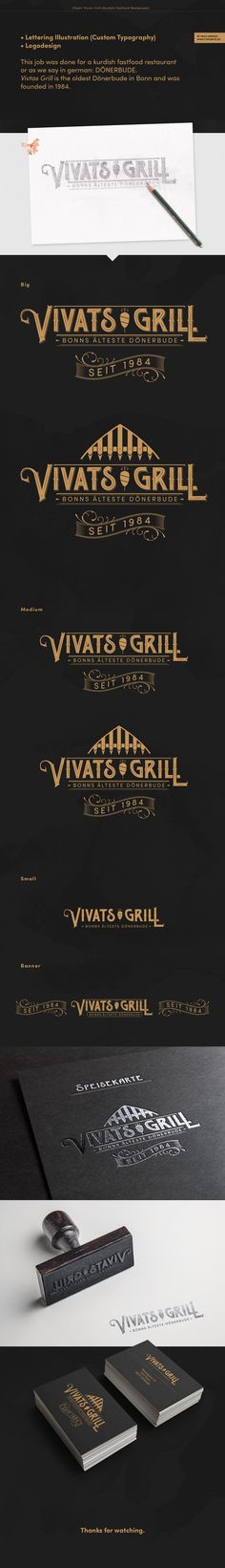 """Vivats Grill Logo"" by Ingo Hermes (www.72punkte.de). Dönerbude, Fastfood, Lettering, Branding, Logo"