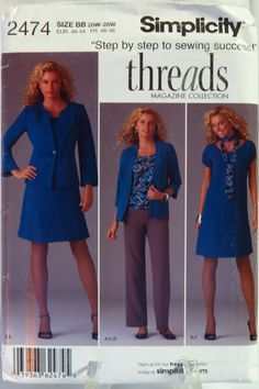 Simplicity 2474 Misses'/Women's Dress or Top, Pants, Jacket, Scarf and Knit Cardigan