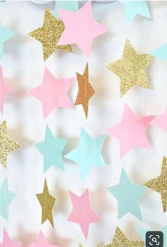 Twinkle Twinkle Little Star Garland, Mint Pink and Gold Paper Garland, Birthday Party Decor, Nursery Decor – DIY Event Gold Birthday, Girl First Birthday, Unicorn Birthday Parties, Birthday Party Decorations, Baby Shower Decorations, Birthday Garland, Twinkle Twinkle Little Star, Pink Und Gold, Decoration Restaurant