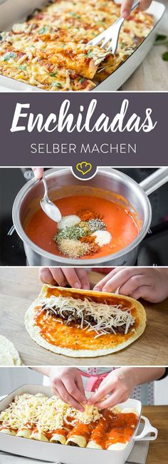 Enchiladas selber machen – So gelingen die Tex-Mex-Rollen Enchiladas – what are these roles and where do they come from? What makes stuffed tortillas into real enchiladas reveals the basic Tex-Mex recipe.Enchiladas – was sind das eigentlich fü Meat Recipes, Mexican Food Recipes, Vegetarian Recipes, Dinner Recipes, Cooking Recipes, Snacks Recipes, Pasta Recipes, Crowd Recipes, Chicken Recipes