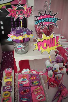 Superheroes Birthday Party Ideas for Girls - great ideas here for a DIY candy and favor bar for kids!