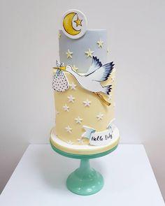 A baby shower cake. One of my festive cakes for Harrods xxx – – baby kuchen – Baby Shower Gateau Baby Shower, Baby Shower Cupcakes, Shower Cakes, Pretty Cakes, Beautiful Cakes, Amazing Cakes, Fondant Cakes, Cupcake Cakes, Stork Cake