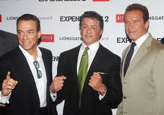 Jean-Claude Van Damme, Sylvester Stallone and Arnold Schwarzenegger attend the UK premiere for The Expendables 2 at Simpsons On The Empire Leicester Square on August 13, 2012 in London, England.