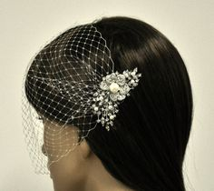 birdcage veil and a bridal comb (2 Items) -  Swarovski Pearls Comb,Wedding comb,bridal headpieces , rhinestone bridal Hair comb on Etsy, $81.82 AUD
