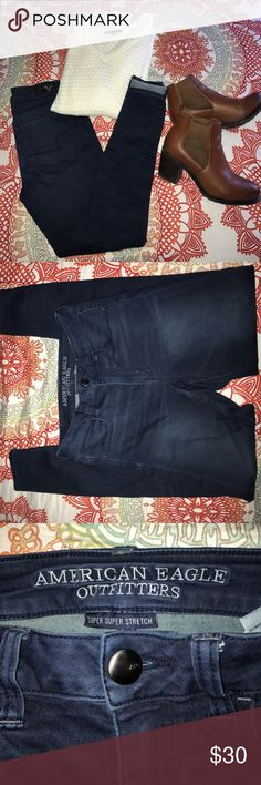 American Eagle Jeggings Great condition Super Stretch high rise jeggings. There is one pull on the back of the left leg as pictured. American Eagle Outfitters Jeans Skinny