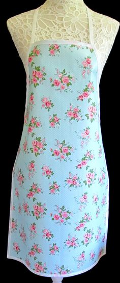Blue Chintz Ditsy, APRON / Pinny PVC/OILCLOTH - Lightweight - Wipeclean - Craft - Cooking - Baking, etc by hurdygurdystore on Etsy