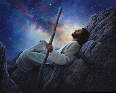 """World's Without End"" painting by Greg Olsen.  Jesus looking at the night sky, surely in contemplation of the wonders He and His father created. I LOVE this painting!"