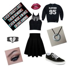 """5sos concert attire"" by maybemuke ❤ liked on Polyvore featuring Posh Girl, Vans, Lime Crime, bandtshirt and bandtee"