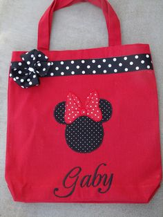 Personalized Minnie Mouse Tote bag by MyDesertCutie on Etsy, $35.00...for nonimouse!