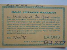 Small Appliance Warranty - April 10th 1973