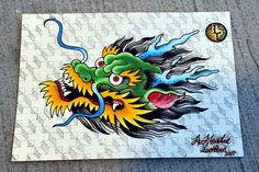 Old school dragon head tatoo flash Japanese Dragon Tattoos, Japanese Tattoo Art, Japanese Art, Dragon Head Tattoo, Dragon Tattoo Designs, Fox Tattoo, Snake Tattoo, Future Tattoos, Tattoos For Guys