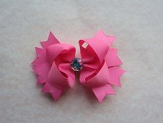Hairbow With Rhinestone Center  45 Med  Pink by SimplyBowtiqueBows, $5.50