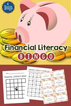 Financial Literacy Bingo reviews vocabulary related to business, personal finances, spending, saving, borrowing, and more. Students create their own bingo cards either by writing or by cutting and glueing 24 choices onto a blank card.