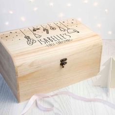 Wooden Christmas Eve Chest for babies. A perfect start to their love of Christmas & a beautifully engraved box to treasure the memories. Wooden Christmas Eve Box, Baby's First Christmas Gifts, Personalised Christmas Eve Box, The Night Before Christmas, Christmas Makes, Babies First Christmas, Christmas Baby, Personalised Gifts, Father Christmas