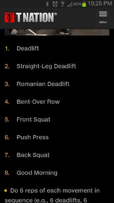 Complex (barbell, but I've been doing with dumbbells) start with set number of reps (say 6, or 8 or 3, whatever seems difficult but doable) and work down to one of each in the last set.