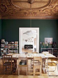 Cette semaine, j'ai aimé…beaucoup de vert, un peu de bois, un bureau girly pour la rentrée et un autre pour les kids, une bibliothèque XXL, un plafond à couper le souffle et pleins d&rs…