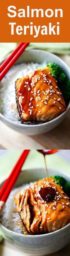 Salmon Teriyaki - moist and juicy pan-seared salmon with teriyaki sauce. This easy salmon teriyaki recipe takes only 4 ingredients | rasamalaysia.com