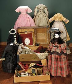 """""""For the Love of the Ladies"""" - October 1-2, 2016 in Phoenix, AZ: 62 German Porcelain Doll with Brown Glass Eyes, Labeled Trunk, and Elaborate Trousseau"""