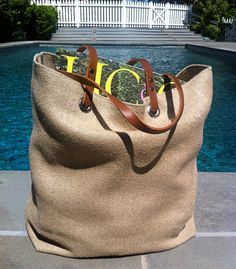 Jute Beach Bag Woven Tote Bag Summer Tote Bag by IndependentReign 5a46c81a4b4dc