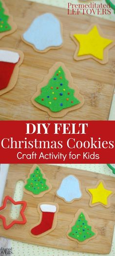 Easy DIY Felt Christmas Cookies - a fun craft activity for kids. Once they have made the felt Christmas cookies, they can be used in imaginative play or as Christmas ornaments.