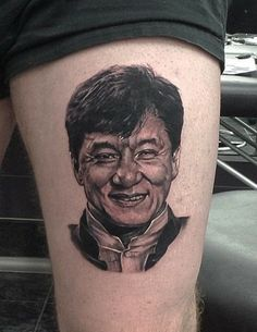 Jackie Chan portrait done by Cain Dibley of Impact tattoos Newcastle Australia.