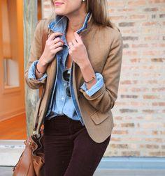 button up + blazer.