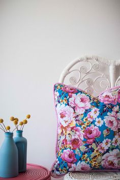 Milly & Eugene - Unique and desirable pieces, that have been hand selected from around the world, into your home. Cushions, Pillows, Vera Bradley Backpack, Color Splash, Vibrant, Colours, Unique, Handmade, Bouquet