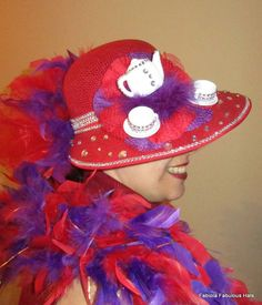 www.fabiolafabuloushats.com    red and purple hat, tea hat