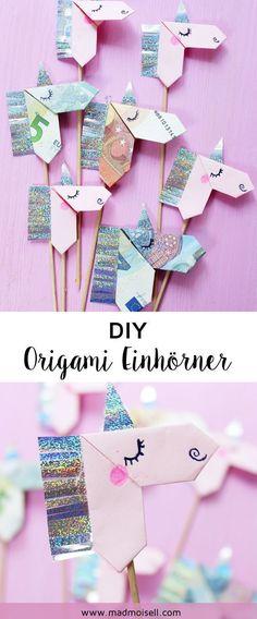 DIY #origami Einhörner falten: Tolle Geschenkidee für Einhorn Fans! #birthdaygifts
