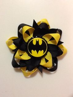 Batman Dark Knight Super Hero Bottle Cap Hair Bow Boutique Stacked Layered Sweetza Creepy Marvel. $6.00, via Etsy.