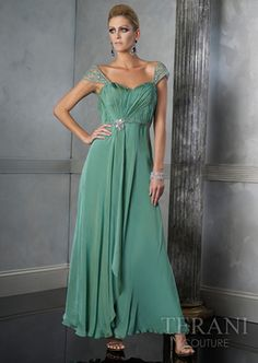 3b781a56943 A-line Off-the-shoulder Ankle-length Chiffon Beading Green Mother of the  Bride Dresses