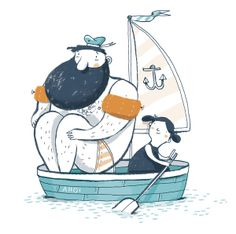 'Ahoi' - by Ina Hattenhauer -- (sailboat, sea, ocean, kids, illustration) Art And Illustration, Illustration Design Graphique, Character Illustration, Illustrations Posters, Illustration Children, Art Watercolor, Design Poster, Artsy, Wallpaper