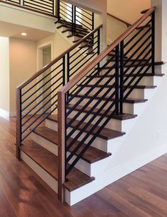 Staircase Railing Design, Interior Stair Railing, Modern Stair Railing, Wrought Iron Stair Railing, Home Stairs Design, Stair Decor, House Design, Modern Stairs Design, Stair Renovation