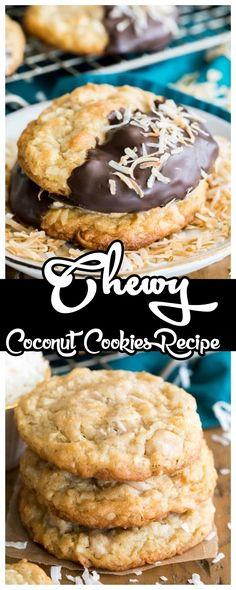 Vanilla Cookies, Coconut Cookies, Yummy Cookies, Yummy Treats, Delicious Desserts, Sweet Treats, Coconut Biscuits, Cookie Desserts, Cookie Recipes