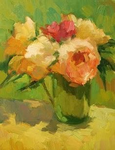 """""""Roses in Green Vase"""", 14 x 11 In, Oil on Panel by Kathryn Townsend"""