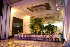 Wedding dinner and reception in the Devonshire Ballroom at The Langham, Chicago. Photo and design by Kehoe Designs.