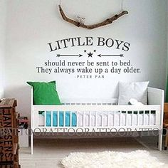 "BATTOO Peter Pan Wall Decal Quote Little Boys Should Never Be Sent To Bed Wall Decals Vinyl Stickers Kids Playroom Bedroom Nursery Decor(Black, 18""h x45""w). Notice for Customer:Battoo.INC is the sole seller of the brand BATTOO, any other sellers are unauthorized. Before purchasing, please click "" more seller"" and choose Battoo.INC, or you may purchase counterfeit decals from other seller. We just can promise the quality of BATTOO. Our vinyl wall decal can be applied on most flat..."