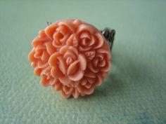 Coral Rosebud Flower Ring  Antique Brass Adjustable by ZARDENIA, $9.00
