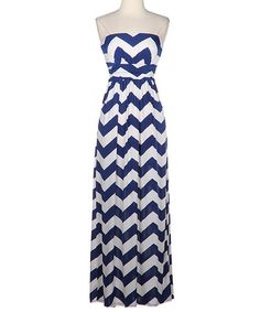 Navy & White Zigzag Strapless Maxi Dress