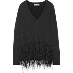 Michael Kors Collection Feather-trimmed cashmere sweater ($1,450) ❤ liked on Polyvore featuring tops, sweaters, charcoal, feather top, michael kors tops, deep v neck sweater, low v neck sweater and low v neck top