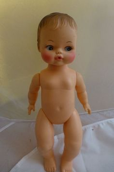 Horsman Doll Baby Boy Girl Brown Molded Hair Blue Eyes Nude Drink Wet 1970 11 In #Horsman #Dolls