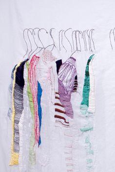 "Allison Watkins, My Closet in San Francisco (detail), hand stitching on fabric, 52 x 64"", 2010"