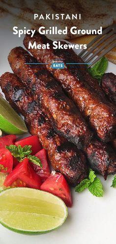 Seekh Kebabs (Pakistani Spicy Grilled Ground Meat Skewers) Recipe – Food for Healty Meat Skewers, Lamb Skewers, Grilled Skewers, Kebab Meat, Grilled Meat, Kabobs, Grilling Recipes, Beef Recipes, Healthy Recipes