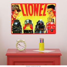 The colorful finish of this train metal sign adds vintage appeal to your playroom or retro decor. This bold embossed tin sign is pre-drilled and ready to hang. Measures 15