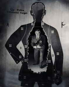 May 26, 1946: A G-man stands behind the target he's just blown apart with a Tommy gun.  (Harry Ransom Center)