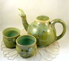 Artistic and Collectible Teapot and two by BlueSkyPotteryCO, $200.00