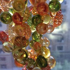 Vintage Japan Lucite buttons beads Bumpy orange by TobysArtwear
