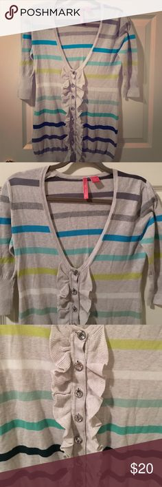 Nordstrom Charlotte Striped Cardigan - NWOT - M Such a cute sweater. Adorable rhinestone buttons. Never worn, in perfect condition. Nordstrom Sweaters Cardigans